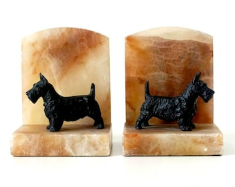 Vintage Scottie Dog Bookends - Marble & Painted Metal - Marble Bookends - Metal Bookends - Dog Bookends