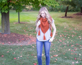 Everyday Triangle Scarf | Burnt Orange | Crochet Triangle Scarf with Tassels