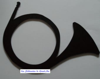 Hunting horn, wall decor wooden