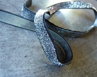 Band Glitzer Silber und schwarz Länge 1 m