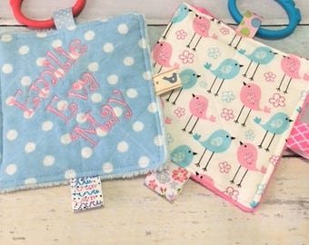 Baby girl toys,Baby toys, teething toys, Baby cinkle toys, sound toys, babies love these,  bird and polka dot prints.