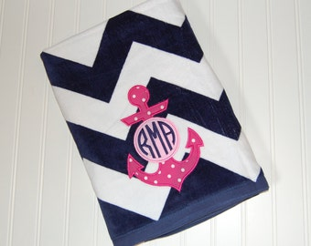 Personalized Beach Towel - Anchor Monogrammed Towel