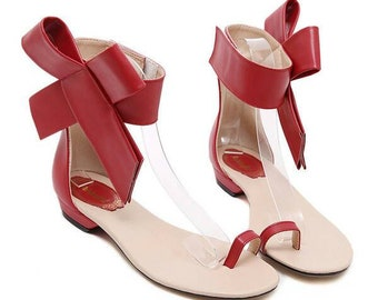 Fashionable Summer Bow Sandals Red Tan Black