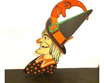 Vintage Witch and Moon Cut Out H.E. Lurhs Halloween Decoration