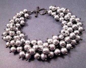 Gunmetal Silver Charm Bracelet, Silver Glass Beaded Bracelet, Cha Cha Style Bracelet, FREE Shipping U.S.