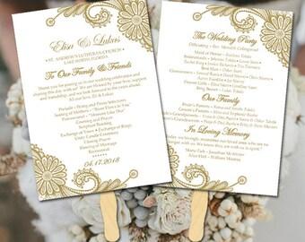 "Lace Wedding Program Fan Template - Antique Gold Wedding Program Printable - Order of Service ""Luna Lace"" Order of Ceremony Instant Download"
