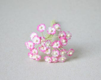 8 mm  / 25  Mixed Pink and White  Mulberry Paper  Flowers