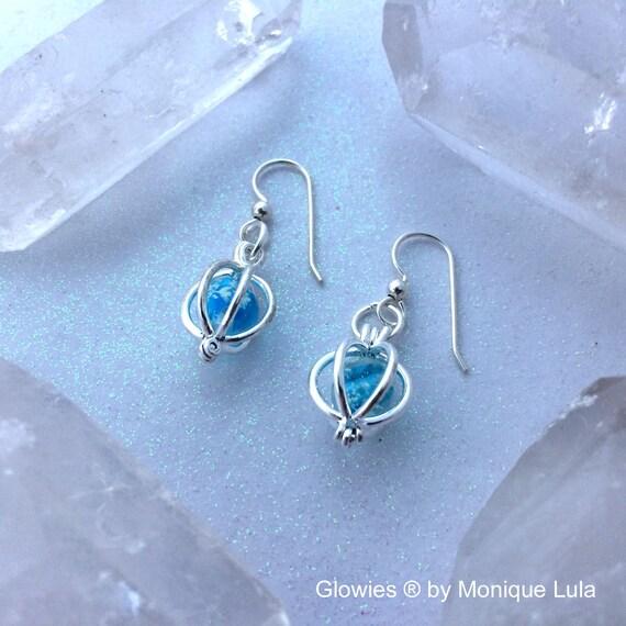 Glowing Orb Earrings for Frozen Galaxy Heart