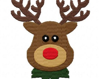 4X4 Christmas Reindeer Machine Embroidery Design Multiple Formats Available - Instant Download