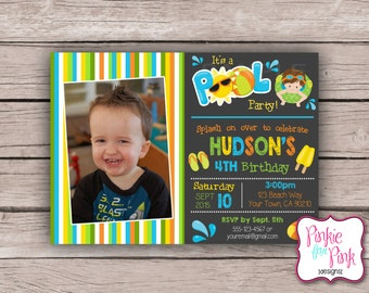 Personalized Pool Party Birthday Party Invitation- Digital File Download Pool Swim Party, Summer, Blue, Green, Yellow, Boys