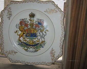 Royal Winton Collector Plate, Canada Plate, Grimwades, Made In England, Square Plate Trimmed In Gold, Canadian