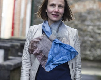 skinny narrow Felt scarf, felted, accessories, unique, gift, fabulousfelt, kate ramsey, gift, grey navy mountain blue