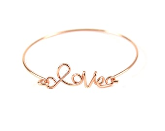 "Rose Gold Plated ""Love"" Wire Cuff Bracelet (1x) (K400-E)"