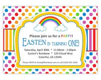 Rainbow Invitation - Rainbow Colors Polka Dots n Stripes, Red Green Blue Rainbow Personalized Birthday Party Invite - Digital Printable File