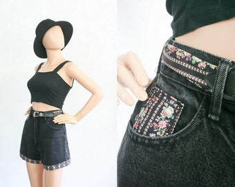Vintage High Waisted Jean Shorts / Denim Daisy Dukes / 1990s Grunge Floral / 90s Paris Blues / Country / South Western / Small