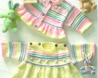 Knitting Pattern Re-Born Doll, Premie Baby-Child- Dress,Cardigan INSTRUCTIONS   PDF
