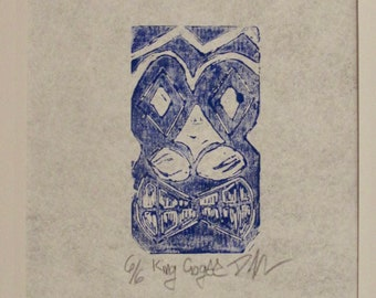 Hand pulled King Gogee block print in blue