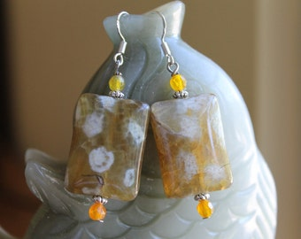 Beautiful Yellow Agate Earrings, sterling silver hook