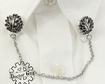 Oak Leaf Collar Clips - Handcrafted Pewter Pins by Doctor Gus - Vest Clips - Shirt Clips Corset Clips