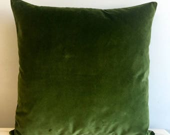 Green Cotton Velvet Pillow Cover 18x18 Pillow Velvet Green Pillow Designer Pillow Velvet PillowVelvet Cushion Covers Green Sofa Pillow Cover