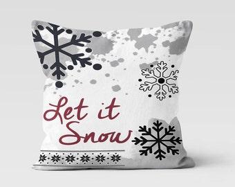 Let It Snow Throw Pillow - Decorative Pillow - Home Decor  - Pillow Case