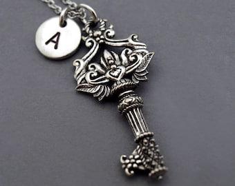 Antique Key necklace, Secret garden key necklace, Flower key charm, Ornate key, initial necklace, personalized, monogram