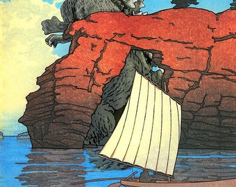 Godzilla Bay Japanese Woodblock Print