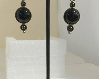 Brass two-circle lever back earrings with black onyx and hematite stones
