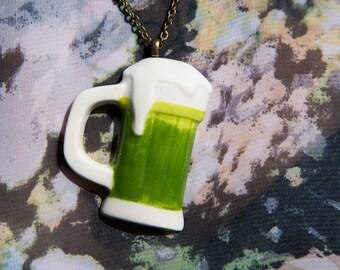 Green Beer Stein Necklace