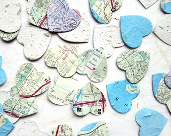 100 Map Paper Seed Hearts - Wedding Favor Plantable Paper Confetti Map Hearts - Flower Seed Map Hearts - Destination Wedding Favor