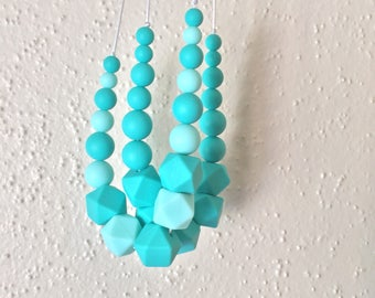 Silicone Teething Necklace, Nursing Necklace, Chew Jewelry, Bite Beads, Mermaid