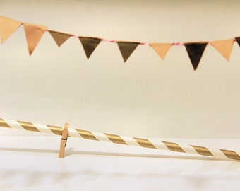 Metallic Paper Straws in Gold or Silver Chevron/Stripes/Stars (Pack of 24)