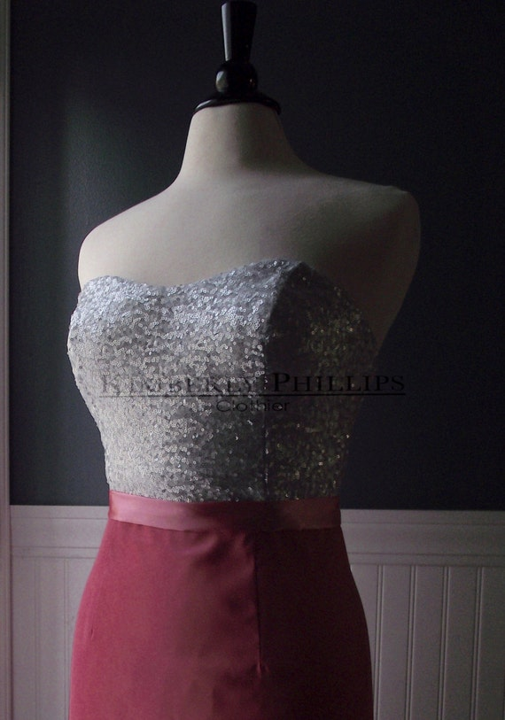 Sequin Bridesmaid Dress- Silver and Coral- Short Prom- Homecoming Dress- Made to Order- Made to Measure