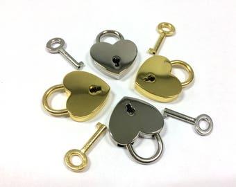 Miniature Padlock and 1 Key Gold or silver Padlock for boxes  Padlock for diary Love lock heart lock mini lock mini padlock Working Padlock