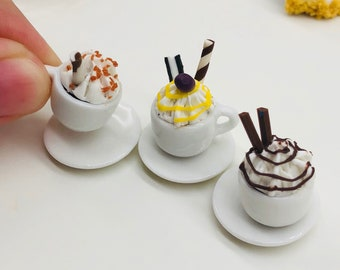 Miniature Coffee Cup,Miniature Beverage,Miniature Coffee,Dollhouse Sweet,Miniature Coffee Set,Miniature Sweet