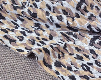 Fabric mesh knit polyester printed leopard x 50cm