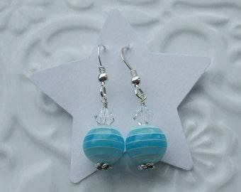 Blue Stripe Sterling Silver earrings