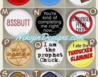 27+ Supernatural Pins - buttons badges spn dean sam winchester castiel bobby singer crowley assbutt idjits prophet chuck ellen harvelle