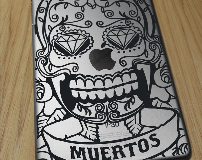 sugar skull iPad decal for iPad and iPad mini, day of the dead sticker art, iPad air, FREE SHIPPING