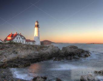 Portland Head Lighthouse at Sunset, Maine, Landscape Print Photograph, Wall Decor