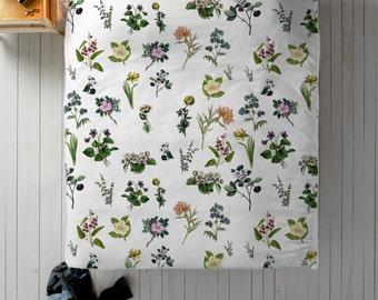 Floral Pattern Duvet, Shabby Chic Duvet, Flower Duvet Cover, Queen Duvet, King Duvet, Twin Duvet, Vintage Flower Bedding, Green Duvet Cover