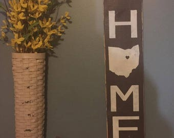 Rustic Home sign with State