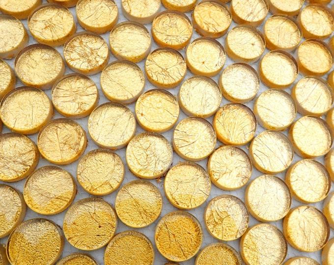 Gold Foil Circle Crystal Tiles - 1 inch - Gold Crackle - 25 Glass Tiles