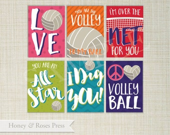 Volleyball Valentine's Day Cards . Sports Valentines . Kids Valentines Cards. Printable Valentines . Instant Download