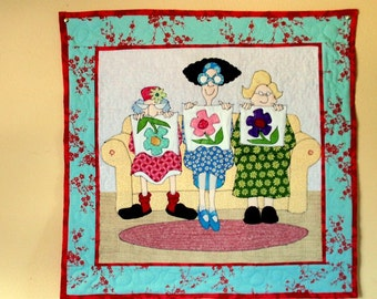 Quilting Ladies Cute Quilted Wall Hanging
