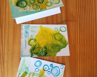 Abstract Mixed Media Greeting Card Set of 3