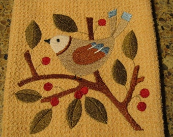 Bird in Berries (Butter) - Microfiber Waffle Weave Kitchen Hand Towel