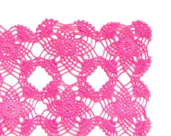 Pink square hand dyed Crochet Vintage Doily