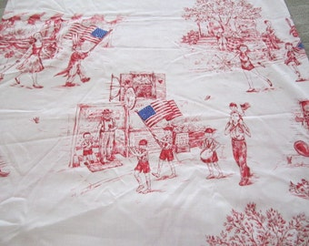 Vintage 1960s   American Flag Fabric  By the Yard Patriotic Retro Children Red White and Blue  Patriotic Parade  Rare