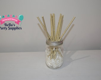 Metallic Gold Paper Straws -   Gold Striped -Gold Straws - Wedding Paper Straws-  Chevron Straws -25 CT